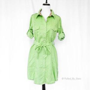 PULP • Green Linen Shirt Dress